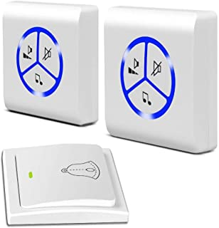 Mopoq Self-winding And Weather-resistant Wireless Doorbell Kit, With 1 Transmitter And 2 LED Indicator Receivers (Color : B)