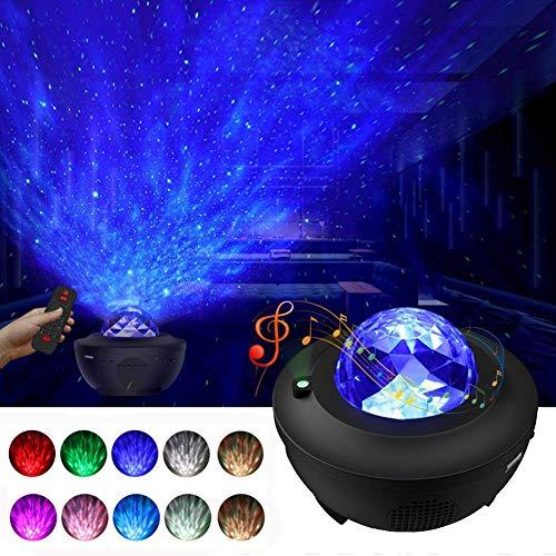 Nachtlicht-Projektor, Monkey Home 3-in-1 Ozeanwellen-Projektor Sternenprojektor mit LED-Nebelwolke für Baby-Kinderzimmer, Spielzimmer, Heimkino, Nachtlicht, Ambiente mit Bluetooth-Musiklautsprecher