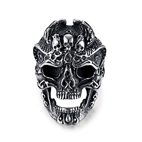 AOUVIK Joyería de Anillo de Acero Inoxidable para Hombres, Anillos de Calavera de Motociclista Punk de Moda, Anillo Punk de Calavera Fantasma, Anillo de Calavera Agrietada Negra,8