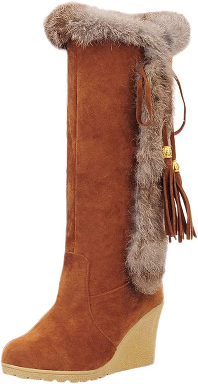 A-LING Long Snow Boots Ladies Fashion Furry Wedges shoes with Fringed