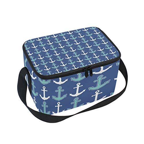 Lunchtasche mit nautischem Ankermuster, Marineblau, Kühltasche für Picknick, Schultergurt, Lunchbox