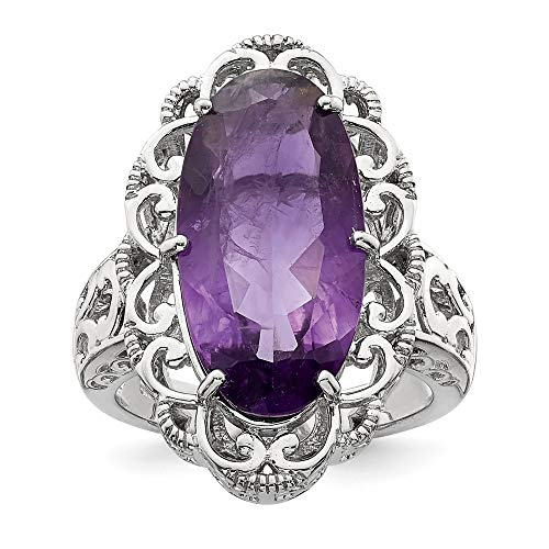 9.85carati taglio ovale ametista anello di fidanzamento in argento Sterling 925, taglia 10