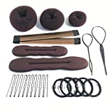 iFlyMars 3 Pieces Hair Donut Bun Makers, 2 Pieces Foam Sponge Bun Shapers, 1 Pieces Magic French Twist Hairstyle Clip,2 Snap Bun Makers,10 pieces Hair Elastic Bands, 20 pieces Hair Pins (Brown)