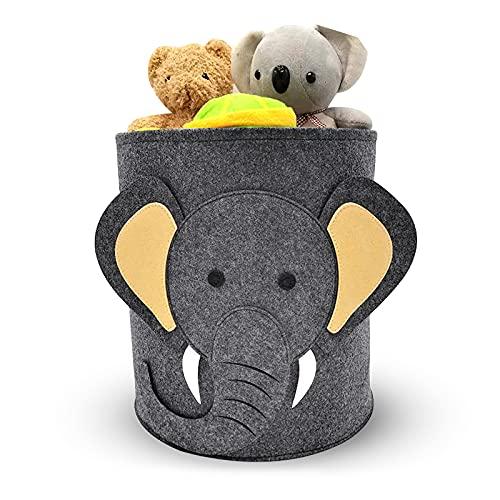 solawill Caja de almacenamiento de juguetes de fieltro,Bolsa Fieltro Plegable Cesta de fieltro para ropa fieltro Cesta de lavandería con Diseño de Animales Cesta de Almacenamiento de Juguetes