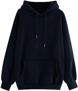 Kipeee Sudadera Sudadera Mujer Casual Bolsillo Sólido con Capucha Manga Larga Jersey Sudadera Blusa Superior para Mujer
