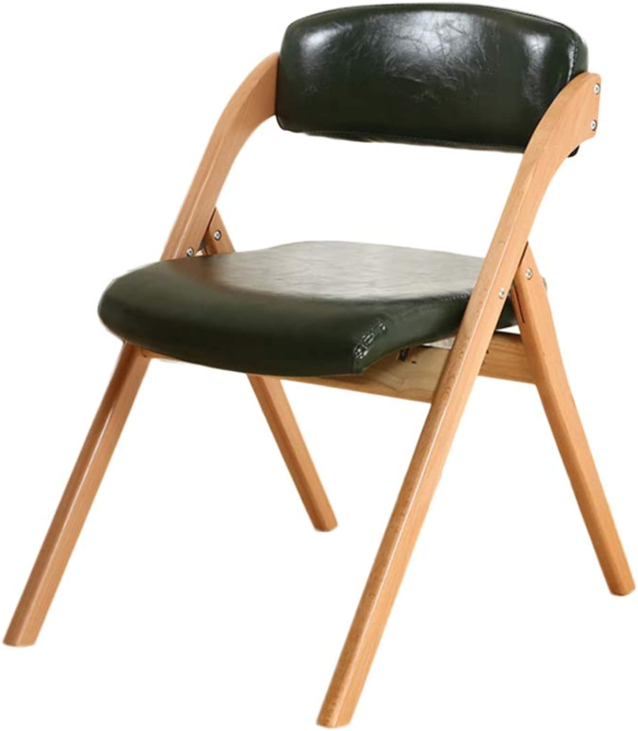Folding Chair Folding Chair Solid Wood PU Leather Black Beech, High Elastic Sponge Pad, Home Living Room Bedroom Dining Room Computer Chair