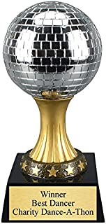 Disco Mirror Ball Dance Trophy with 3 lines of custom text