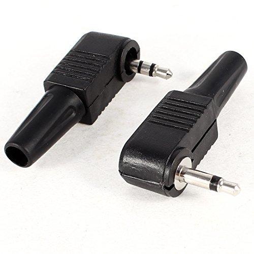 DealMux 2 Piezas de plástico Negro Jefe Mono Stereo 3.5mm Adaptador Macho del Conector de Audio
