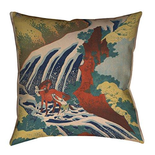 ArtVerse Katsushika Hokusai 35,6 x 35,6 cm gesponnenes Polyester Pferd und Wasserfall Kissen, 41 x 41 cm