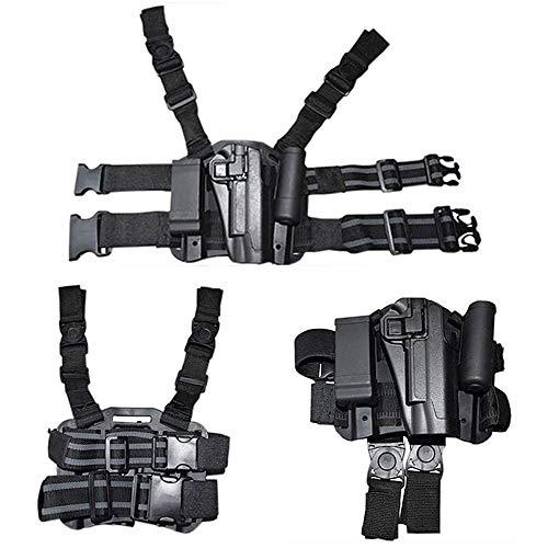 FIRECLUB Tactical Right Hand Paddle & Leg Belt Drop Leg Holster for M1911/M92/P226/G17 (Black-1911)