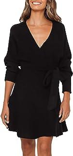 Women's V Neck Sweater Dress Tie Front Long Sleeve Flowy Wrap Dresses