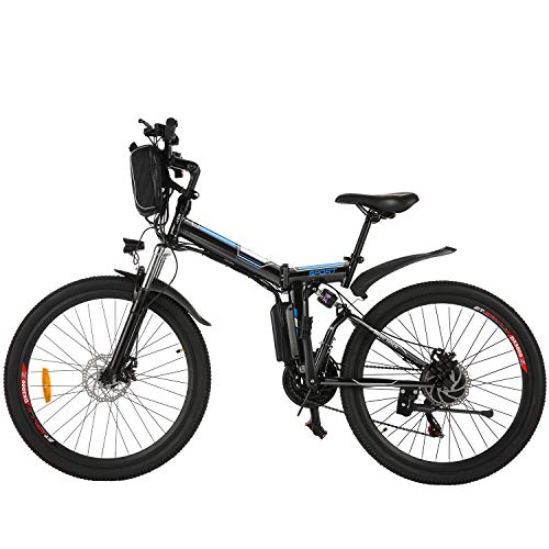 ANCHEER 26'' Electric Mountain Bike, 250W Electric Bicycle with Removable 36V 8AH Lithium-Ion Battery for Adults, 21 Speed Shifter (Spoting_Black)