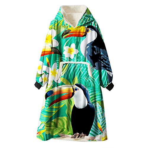 Oduo Kapuzenpullover Decke, Flamingo Drucken Übergroße Sherpa Hoodie Weiche Warme Riesen Sweatshirt Blanket Fronttasche Plüsch Pullover Decke mit Kapuze (Tukan 2,One Size)