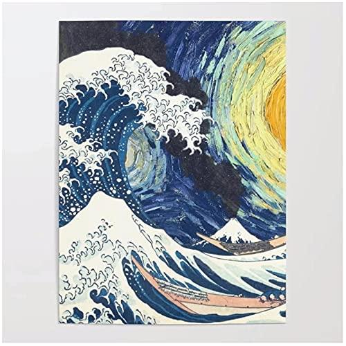 SDGW Cartel De Arte De Pared Noche Estrellada Grandes Impresiones Imágenes Lienzo Pintura Ola Kanagawa Decoración del Hogar para Dormitorio-50X70Cm Sin Marco
