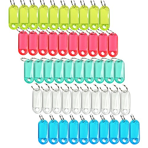 Cosmos Pack of 50 Assorted Color Coded Key Tag with Label Window Ring Holder with LCD Cleaner Stylus
