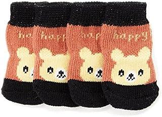 nikka(日華)靴下 犬用 すべり止 肉球保護 くつした ソックス クマ 4個入り Mサイズ