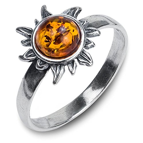 Bernstein Sterling Silber Sonne Ring