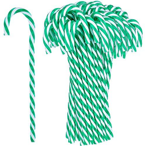 Hicarer 50 Piezas Bastón de Caramelo de Plástico de Navidad Adornos Colgante de Árbol de Navidad para Favores de Decoración de Fiesta de Vacaciones (Verde y Blanco)