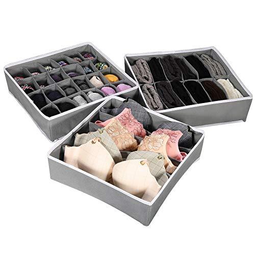 Fostoy Unterwäsche Schubladen Organizer, 3 Stück Schubladen Organizer Kleidung Lagerung Unterwäsche Organizer Faltbare Aufbewahrungsbox für Kleidung, Decken, Socken (grau)