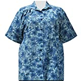 A Personal Touch Women's Plus Size Short Sleeve Button-Front Print Tunic with Pleats Blue Maura - 4X