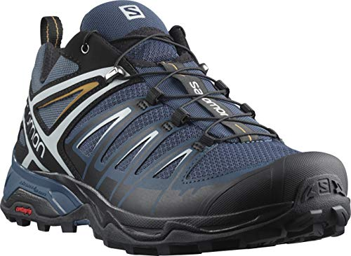 Salomon Men's X Ultra 3 Hiking Shoes, Dark Denim/Black/Cumin, 7.5