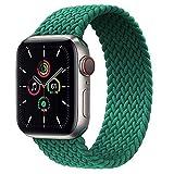 Solo Loop trenzado compatible con Apple Watch 38/40 mm 42/44 mm 41 mm/45 mm, Sport Nylon Recambio Elástica Correa Compatible con Iwatch Series 7/6/5/4/3/2/SE (42 mm/44 mm-S,Verde tinta)