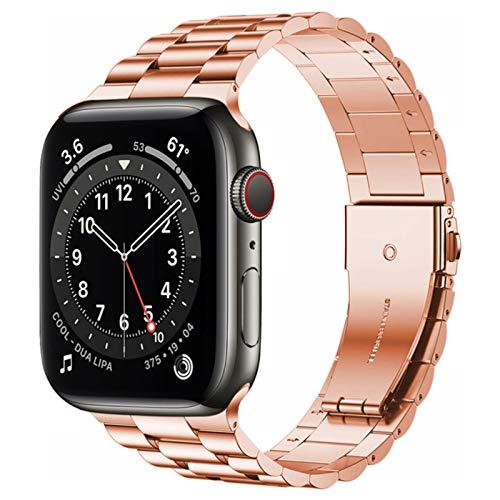 Versión mejorada Pulsera de acero inoxidable para Apple Watch 6 Se Band Serie 5 4 3 44 mm 40 mm 42 mm 38 mm Correa comercial para Iwatch-S-rose Gold, serie 321 38 mm