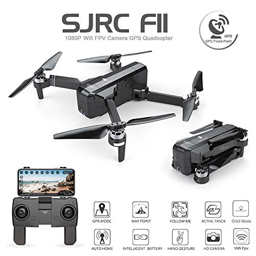 SJRC F11 RC Foldable Quadcopter Drone iOS Android App Operation 1080P 5G WiFi Camera Record Video 1-Key RTH Altitude Hold Track Flight Headless Brushless Motor, Adjustable Camera Angle