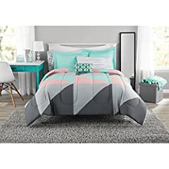 "Twin/Twin XL Set Includes: comforter (66"" x 90""), one standard sham (20"" x 26""), one flat sheet (66"" x 96""), one fitted sheet (39"" x 80"" + 12""), one pillowcase (20"" x 26""), and one decorative pillow (12"" x 16"") Full Set Includes: one comforter (76"" x..."