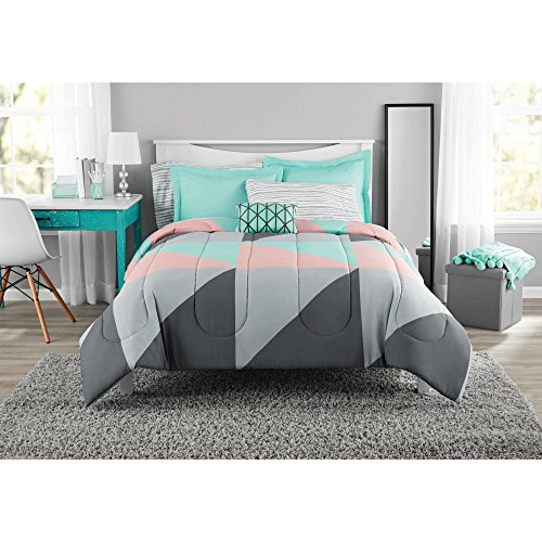 Fun and Bold Mainstays Gray and Teal Bed in a Bag Modern Comforter Set, Geometric Triangle Print with Teal Blue Gray and Pink Coral, Great for Dorms and Kid
