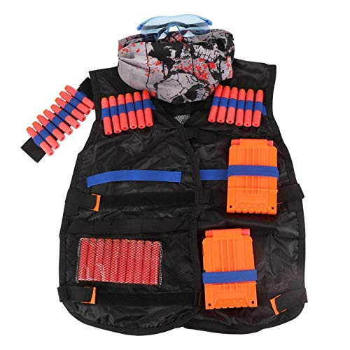STORM GYRO Kids Tactical Vest Kit for Nerf Guns N-Strike Elite Series with Refill Darts, Dart Pouch, Wristband, Face Tube Mask, Quick Reload Clips and Protective Glasses for Boys