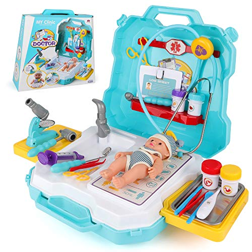 BeebeeRun Doctor Kit for Kids, 29Pcs Pretend Medical Doctor Medical Playset with Electronic Stethoscope, Doctor Roleplay,Medical Kits Gift, Educational Doctor Toys for Toddler Boys Girls