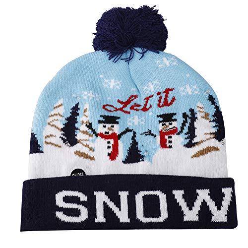 Blanketswarm Weihnachtsmütze mit LED-Licht, Strickmütze für den Winter, warm, Geschenk für Kinder Gr. M, A4