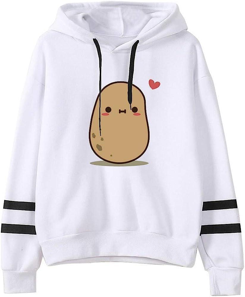 Cuekondy Funny Potato Pullover,Women Teen Girls Hooded Sweatshirt Casual Color Block Striped Long Sleeve Hoodies Blouse