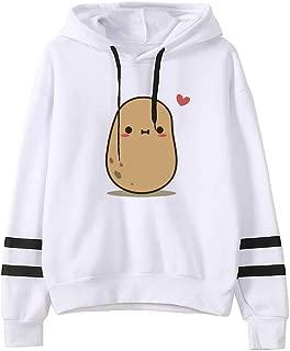 Hooded Sweatshirts Cute Potatoes Pattern Teen Girls Hoodies Casual Loose Pullover Sweatshirt Outwear