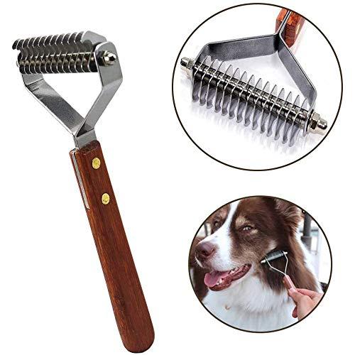 UNIIKE 14-Blatt-Mantel König Rake Pet Vorst Rake, Professional Pet Dematting Kamm Grooming Stripping Tool für Hunde und Katzen