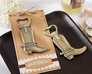 Just Hitched Cowboy Boot Bottle Openers Wedding Favors, 48