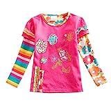 VIKITA Mädchen Baumwolle Langarm T-Shirt Top, L220 Rosa, Gr. 4-5 Jahre=104cm-110cm
