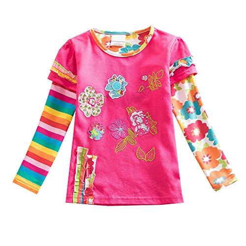 VIKITA Mädchen Baumwolle Langarm T-Shirt Top, L220 Rosa, Gr. 7-8 Jahre=122cm-128cm