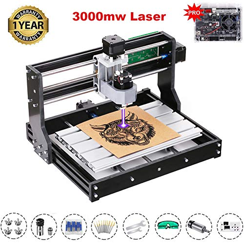 2-in-1 3000mW Upgrade Version CNC 3018 Pro with 20 Bits GRBL Control DIY Mini CNC Machine, 3 Axis Pcb Milling Machine, Wood Router Engraver with Offline Controller, with ER11 and 5mm Extension Rod