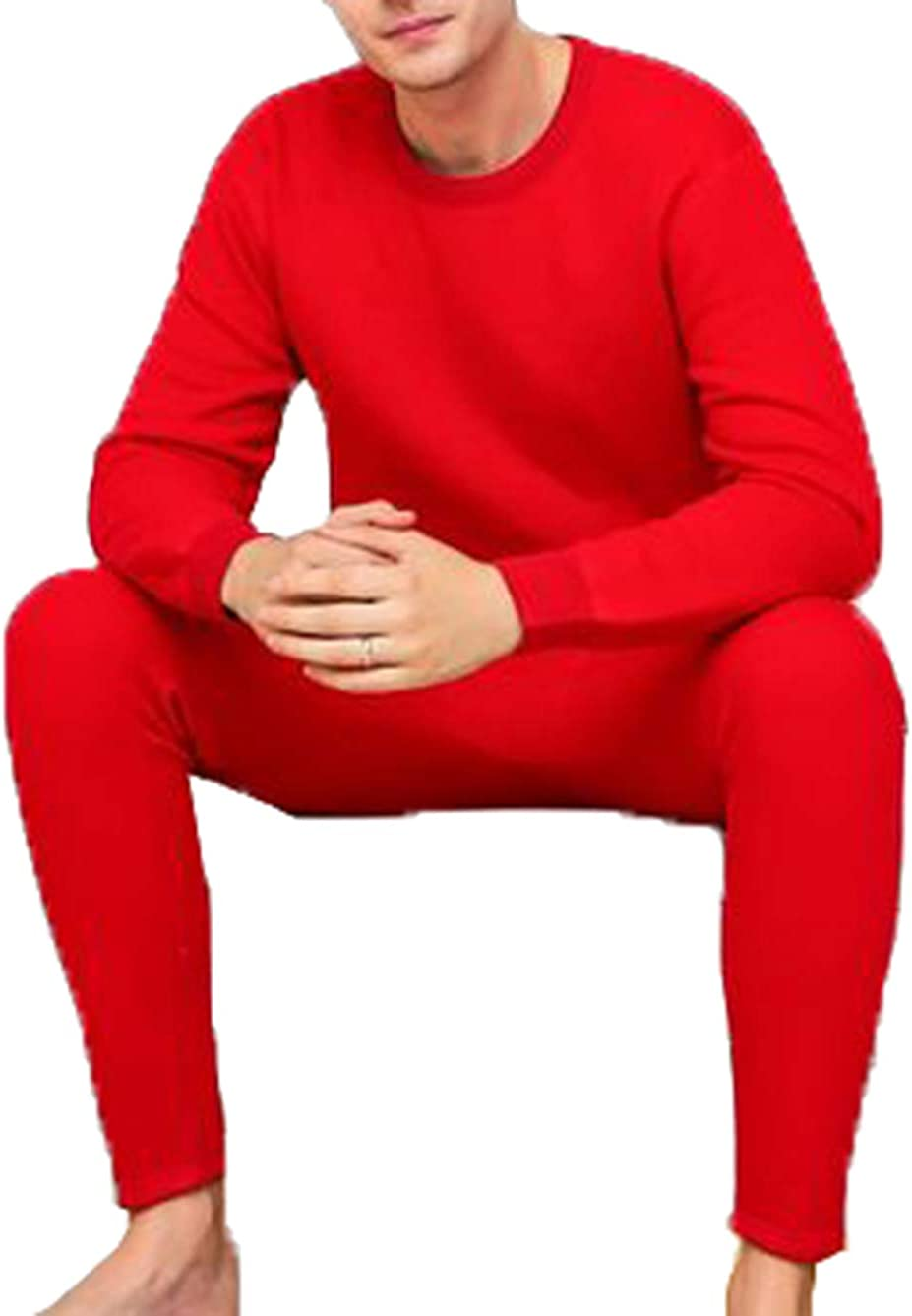 Seaoeey Men Ultra Soft Thermal Underwear Set Middle-Age Double Layer Warm Top and Bottom 2Pc