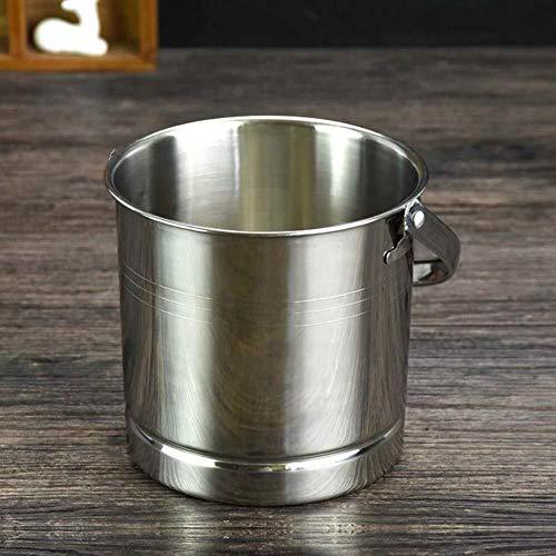 GUYUE Edelstahl Eiskübel - Tragbare Double Wall Eiskübel Hotel Bucket/Champagne Bucket/Getränke Eimer, Servierware for Partei, Ereignis, und Camping (Color : Silvery, Size : 15x14cm(6x6inch))