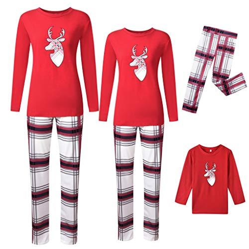 Holeider Weihnachten Schlafanzug Familie Damen Herren Kinder Pyjama Schlafanzüge Familie Weihnachts Nachtwäsche Erwachsene Tops + Hosen Gitter Pyjama Set für Jungen, Mädchen Sleepwear Set