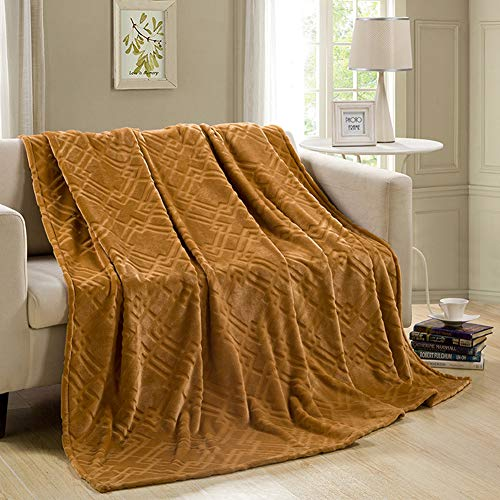 Absir Warm Solid Color Thicken Flannel Blanket for Sofa Bed Supplies Camel 120X200cm