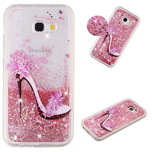 Miagon Flüssig Hülle für Samsung Galaxy J4 Plus 2018,Glitzer Weich Treibsand Handyhülle Glitter Quicksand Silikon TPU Bumper Schutzhülle Case Cover-Rosa High Heels