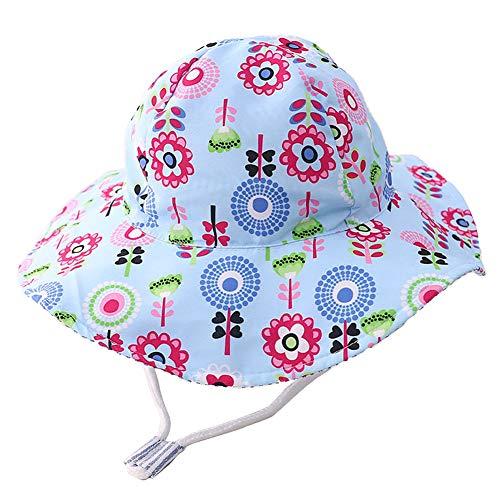 Funnycokid Cappello da sole per bambina, UPF 50, anti-UV, con motivo divertente, cappello estivo per bambini, regolabile da 1 a 7 anni Fiore blu 6-24 mesi