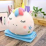 XIUHHE Plush Toy-Plüsch Pony 2 in 1 Kissen mit Einer Decke innen, weiches Plüsch Regenbogen Pony Kopf Kinderspielzeug Geschenk 40cm weiß A 1St
