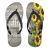 Mnsruu Otoño girasol tablero de madera flip flops sandalias hogar zapatillas hotel spa dormitorio viajes S para hombres mujeres