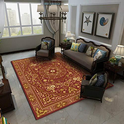 CCTYJ Patrón Retro Tradicional Rojo Oscuro fácil de cuidar de Antideslizante Esponjoso Transpirable Dormitorio Corredor Área de cabecera alfombra-140x200cm Estar Alfombra para Decoración Interior DIS
