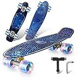 Colmanda Mini Cruiser Skateboard, 22' 56cm Monopatín Skateboard Retro con PU Ruedas Luminosas y Rodamiento ABEC-7, Skateboard Completo para Principiantes, Adolescentes, Niños y Niñas